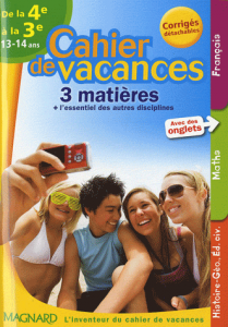 Cahier de vacances 3 matières de la 4e à la 3e