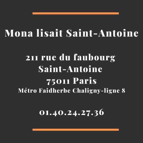 Adresse librairie Mona lisait Saint-Antoine 75011 Paris