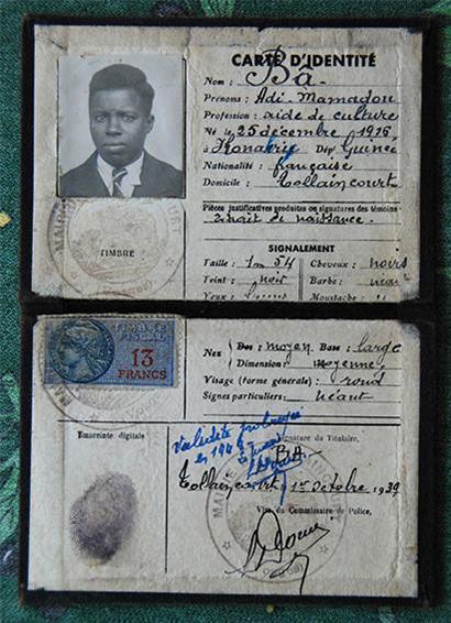 carte identité de Addi Bâ le tirailleur sénégalais